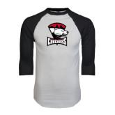 White/Black Raglan Baseball T-Shirt-Charlotte Checkers - Offical Logo