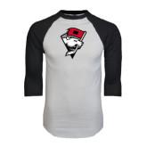 White/Black Raglan Baseball T-Shirt-Bear Head w/ Flag
