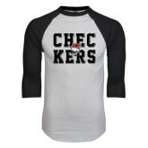White/Black Raglan Baseball T-Shirt-Block Text Design