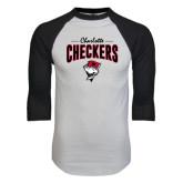White/Black Raglan Baseball T-Shirt-Charlotte Checkers Stacked Design