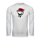 Syntrel Performance White Longsleeve Shirt-Bear Head w/ Flag