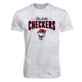 Next Level Heather White Tri Blend Crew-Charlotte Checkers Stacked Design