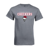 Charcoal T Shirt-Charlotte Checkers Stacked w Flag logo