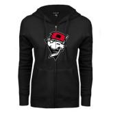 ENZA Ladies Black Fleece Full Zip Hoodie-Bear Head w/ Flag