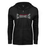 ENZA Ladies Black Fleece Full Zip Hoodie-Charlotte Checkers