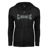 ENZA Ladies Black Fleece Full Zip Hoodie-Charlotte Checkers Silver Soft Glitter
