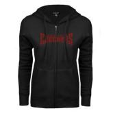 ENZA Ladies Black Fleece Full Zip Hoodie-Charlotte Checkers Red Glitter