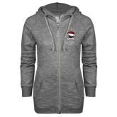 ENZA Ladies Grey/Black Marled Full Zip Hoodie-Charlotte Checkers - Offical Logo