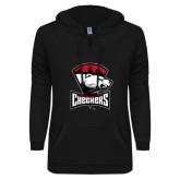 ENZA Ladies Black V-Notch Raw Edge Fleece Hoodie-Charlotte Checkers - Offical Logo