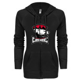 ENZA Ladies Black Light Weight Fleece Full Zip Hoodie-Charlotte Checkers - Offical Logo