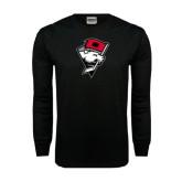Black Long Sleeve TShirt-Bear Head w/ Flag