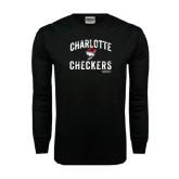 Black Long Sleeve TShirt-Arch Charlotte Checkers Hockey Distressed Type