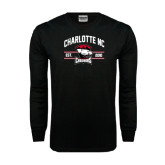 Black Long Sleeve TShirt-Arched Charlotte NC Est 2010 Stacked