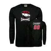Black Long Sleeve TShirt-Charlotte Checkers - Offical Logo