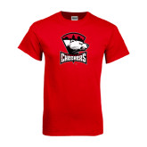 Red T Shirt-Charlotte Checkers - Offical Logo Distressed