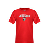 Youth Red T Shirt-Charlotte Checkers Stacked w Flag logo