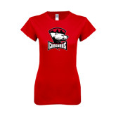 Next Level Ladies SoftStyle Junior Fitted Red Tee-Charlotte Checkers - Offical Logo