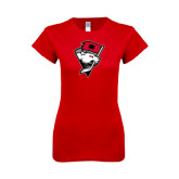 Next Level Ladies SoftStyle Junior Fitted Red Tee-Bear Head w/ Flag
