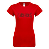 Next Level Ladies SoftStyle Junior Fitted Red Tee-Charlotte Checkers Red Glitter