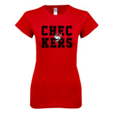 Next Level Ladies SoftStyle Junior Fitted Red Tee-Block Text Design
