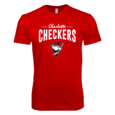 Next Level SoftStyle Red T Shirt-Charlotte Checkers Stacked Design
