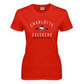 Ladies Red T Shirt-Charlotte Checkers AHL Design