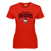 Ladies Red T Shirt-Charlotte Checkers Stacked Design