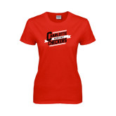 Ladies Red T Shirt-Charlotte Checkers Hockey Dept