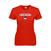 Ladies Red T Shirt-Charlotte Checkers Stacked w Flag logo