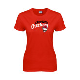 Ladies Red T Shirt-Charlotte Checkers Script Distressed