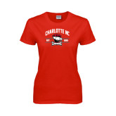 Ladies Red T Shirt-Arched Charlotte NC Est 2010 Stacked