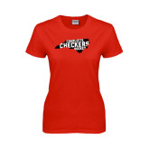 Ladies Red T Shirt-Charlotte Checkers Hockey in State