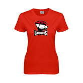 Ladies Red T Shirt-Charlotte Checkers - Offical Logo