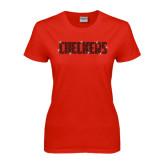 Ladies Red T Shirt-Checkers Flat Rhinestones