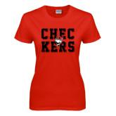 Ladies Red T Shirt-Block Text Design