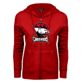 ENZA Ladies Red Fleece Full Zip Hoodie-Charlotte Checkers - Offical Logo