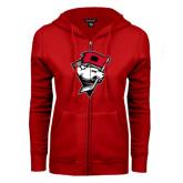 ENZA Ladies Red Fleece Full Zip Hoodie-Bear Head w/ Flag