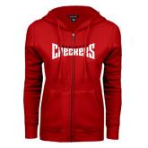 ENZA Ladies Red Fleece Full Zip Hoodie-Charlotte Checkers