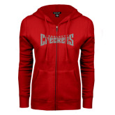 ENZA Ladies Red Fleece Full Zip Hoodie-Charlotte Checkers Silver Soft Glitter