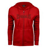 ENZA Ladies Red Fleece Full Zip Hoodie-Charlotte Checkers Red Glitter