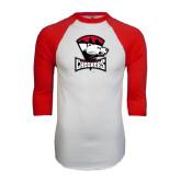 White/Red Raglan Baseball T-Shirt-Charlotte Checkers - Offical Logo