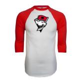 White/Red Raglan Baseball T-Shirt-Bear Head w/ Flag