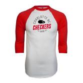 White/Red Raglan Baseball T-Shirt-Charlotte NC Est 2010