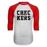 White/Red Raglan Baseball T-Shirt-Block Text Design