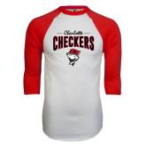 White/Red Raglan Baseball T-Shirt-Charlotte Checkers Stacked Design
