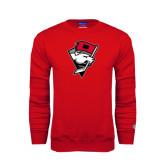 Red Fleece Crew-Bear Head w/ Flag