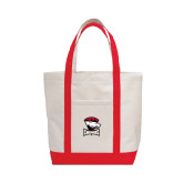 Contender White/Red Canvas Tote-Charlotte Checkers - Offical Logo
