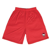 Syntrel Performance Red 9 Inch Length Shorts-Bear Head w/ Flag