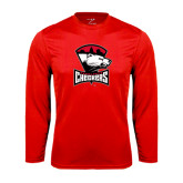 Syntrel Performance Red Longsleeve Shirt-Charlotte Checkers - Offical Logo