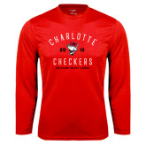 Syntrel Performance Red Longsleeve Shirt-Charlotte Checkers AHL Design